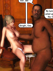 Real horny white 3d girls don't mind being gangbanged by group of black guys with big cocks.