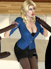 3d blonde milf with perfect breasts can't believe she gonna suck three black cocks at the same time.